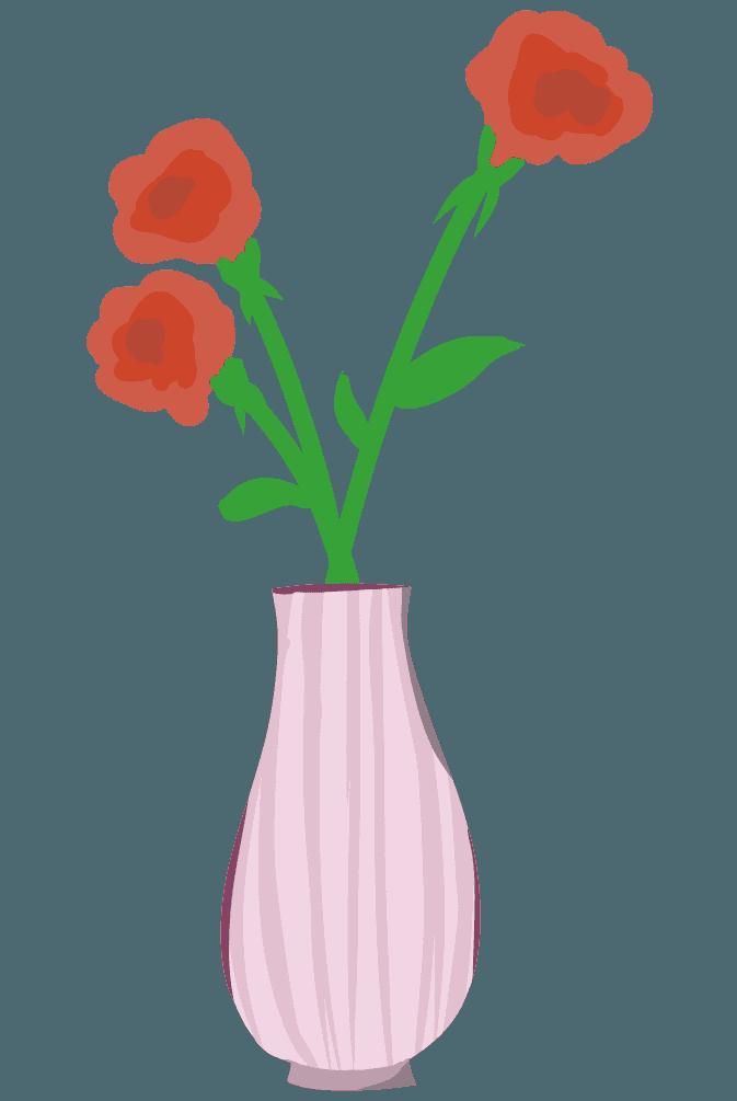 薔薇とピンクの縞模様の花瓶のイラスト
