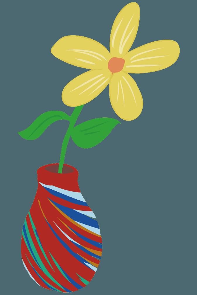 カラフルな花瓶のイラスト