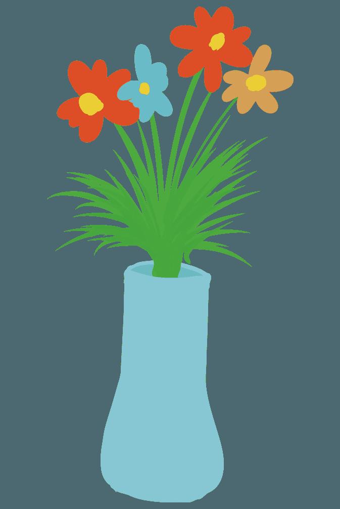 シンプルな水色の花瓶のイラスト