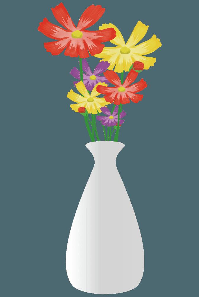 の白い花瓶とカラフルな花々イラスト