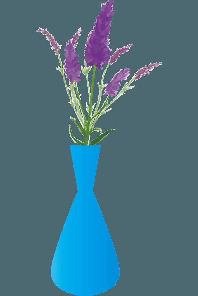 ラベンダーと水色の花瓶のイラスト