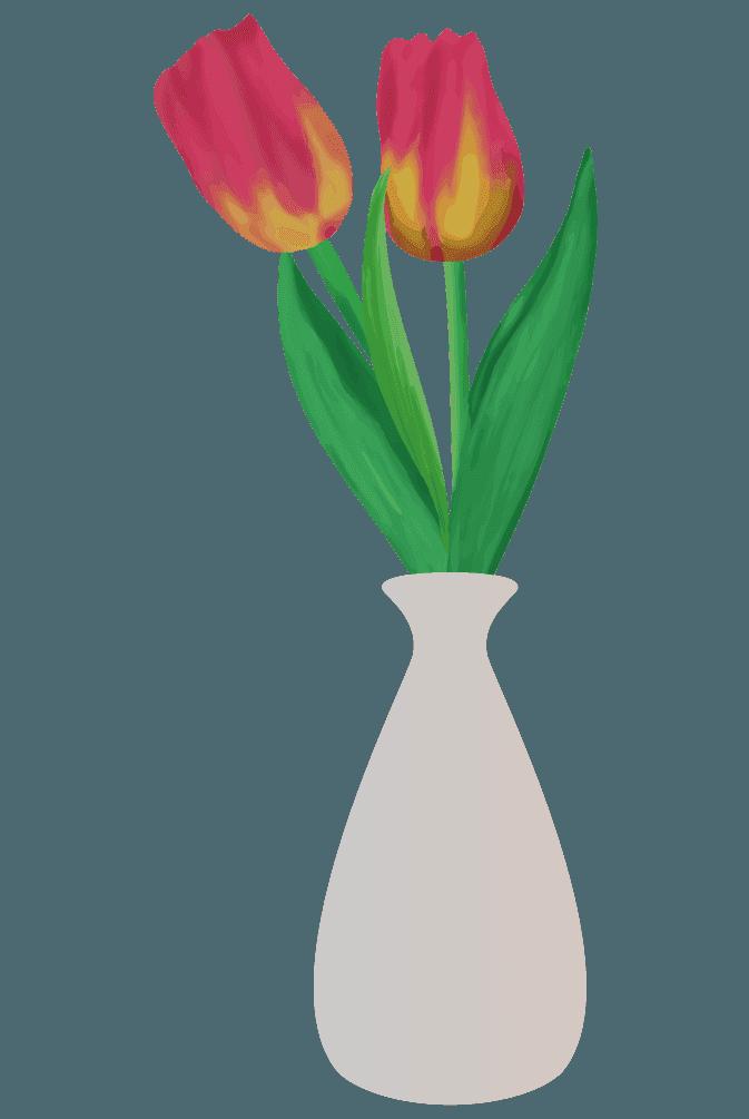 チューリップと花瓶のイラスト