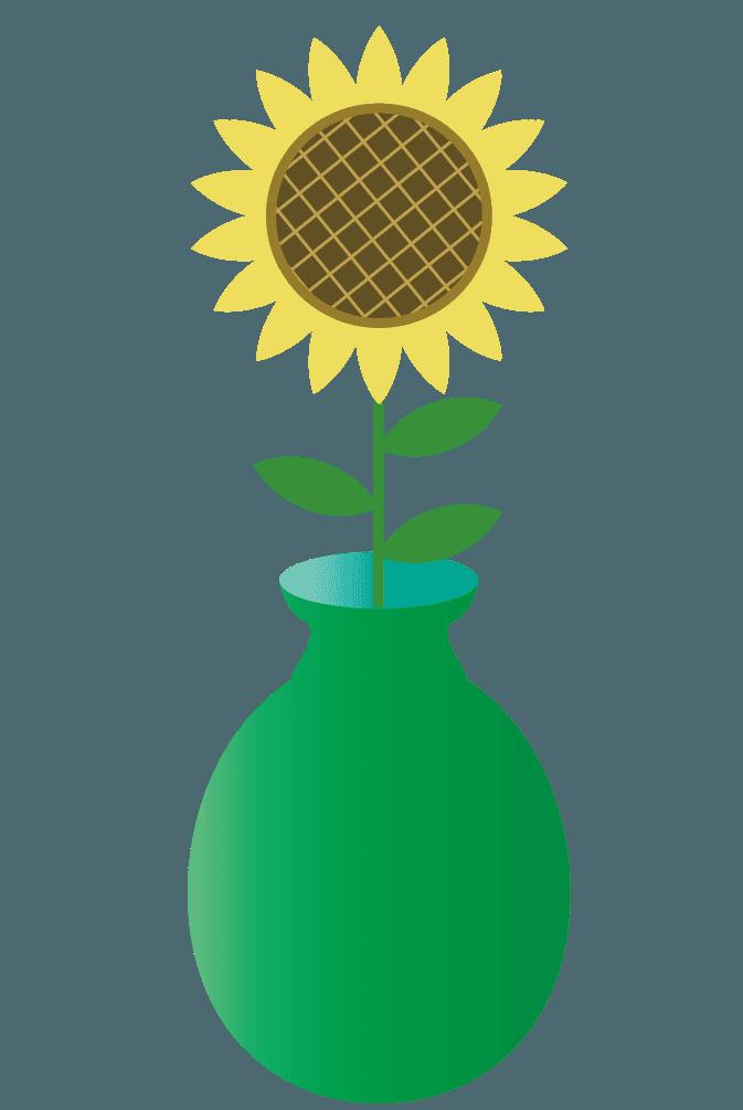 ひまわりと花瓶のイラスト