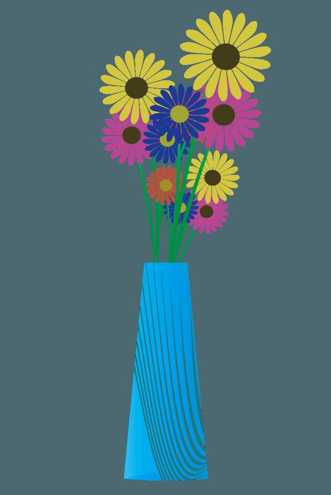 ガーベラとおしゃれな花瓶のイラスト