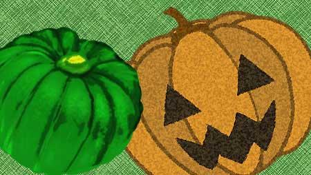 ハロウィンのパンプキンヘッドと普通のかぼちゃのイラスト