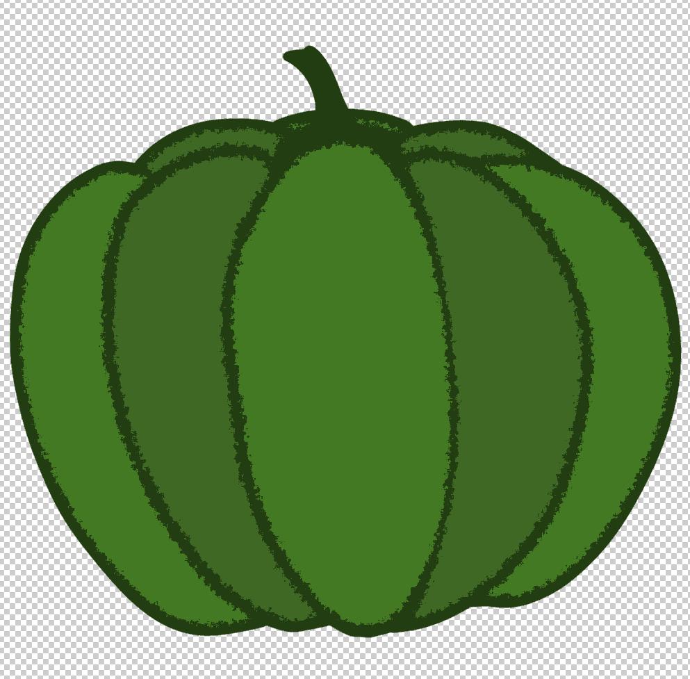 かぼちゃイラストにブラシストロークはねを適用