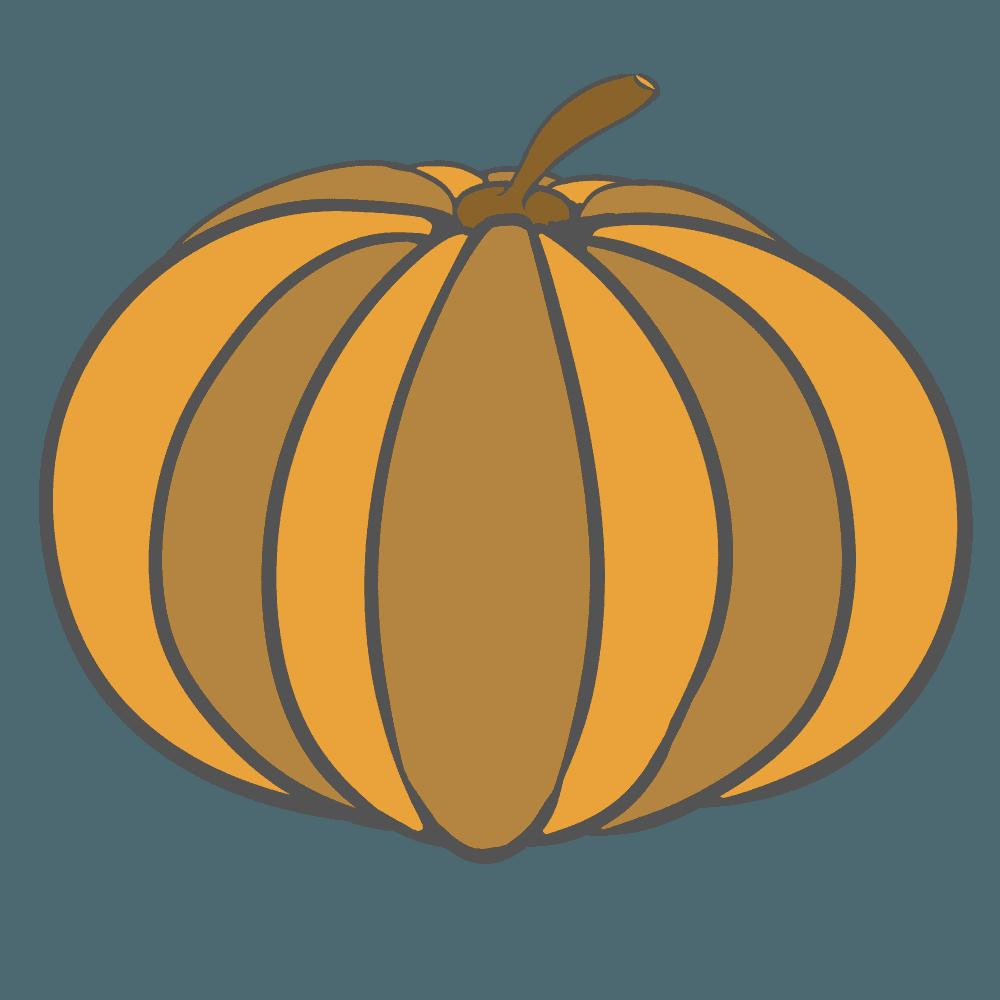 シンプルなオレンジのかぼちゃイラスト