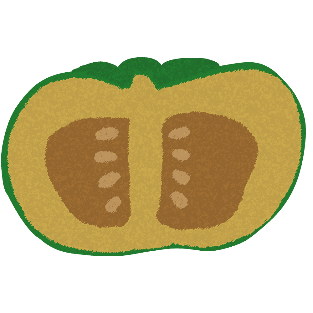 半身のクレヨン風かぼちゃイラスト