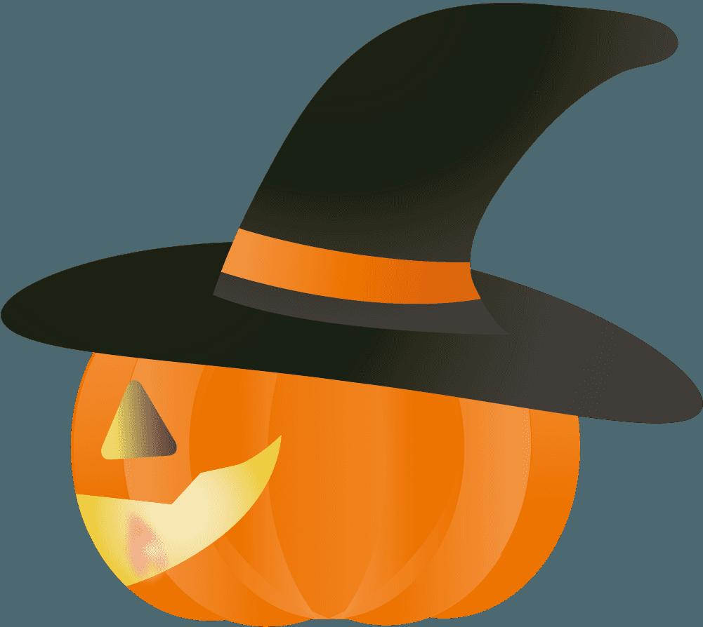 ハロウィンの魔女かぼちゃ横向きイラスト