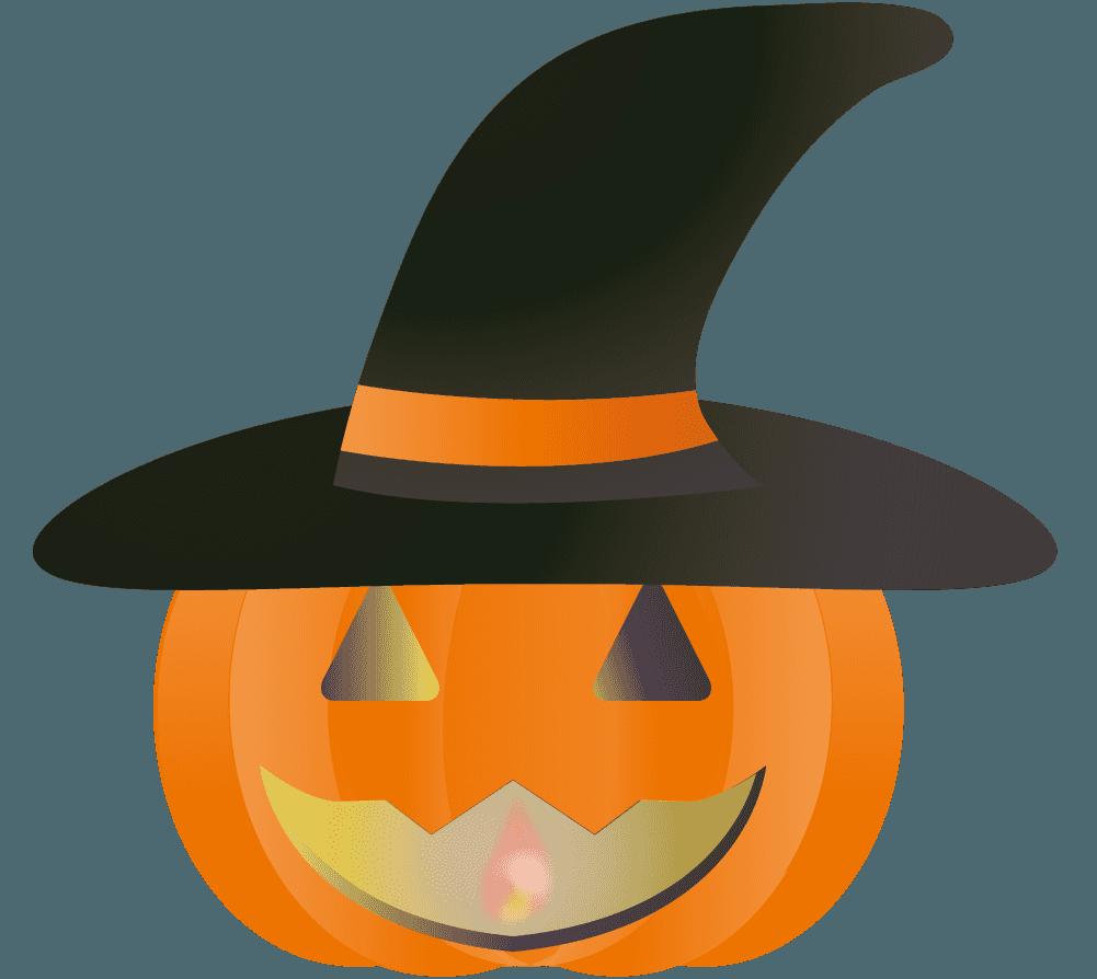 ハロウィン魔女かぼちゃ前向きイラスト
