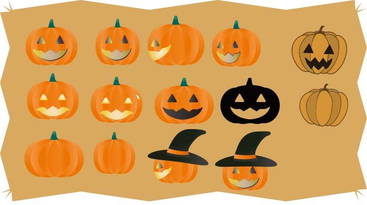 ハロウィンのかぼちゃのベクター素材