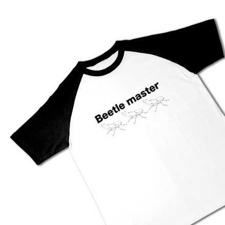 線画ビートルマスターラグランTシャツ