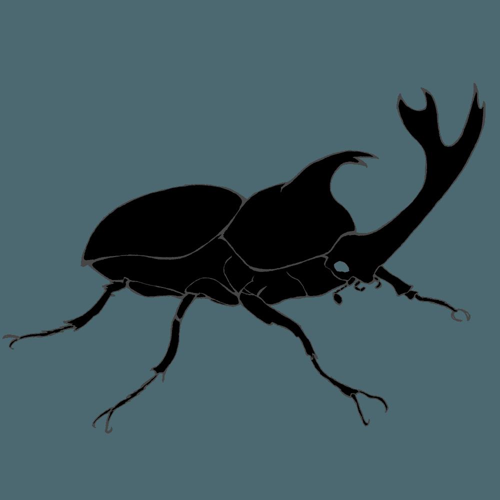 横から見たカブトムシシルエットイラスト