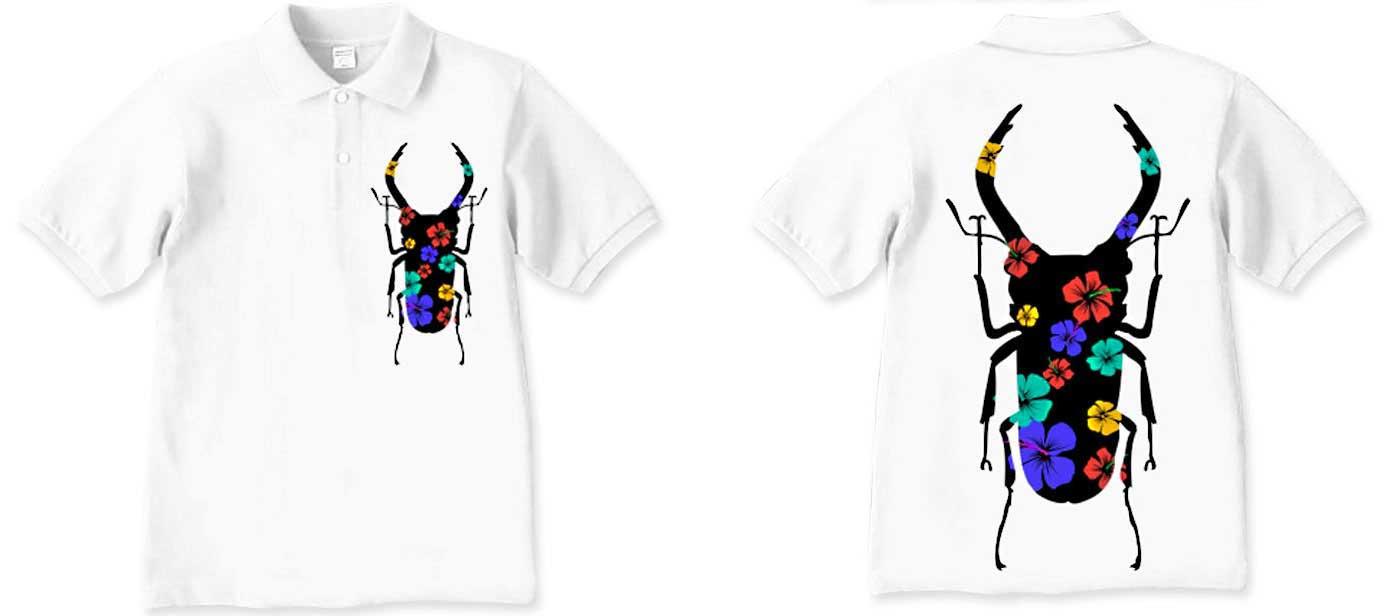 ハイビスカスとクワガタのシルエットTシャツ