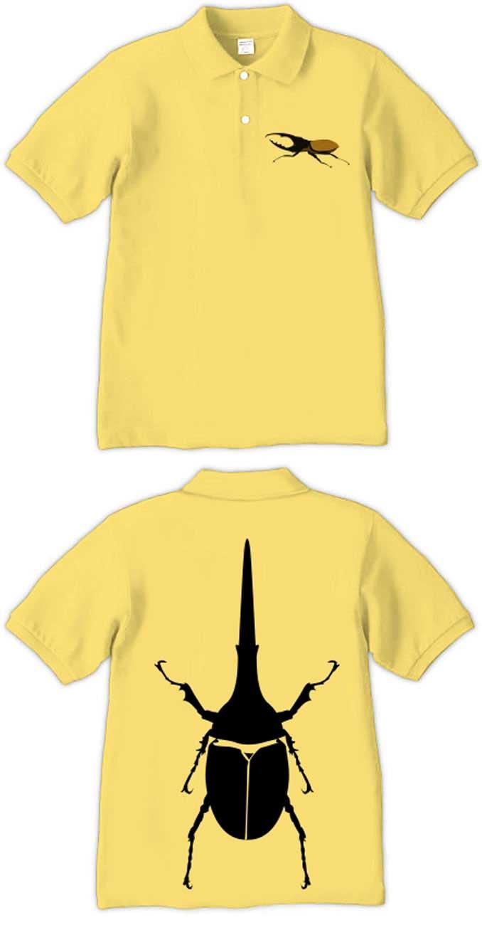 ヘラクレスオオカブトムシのイラストポロシャツ