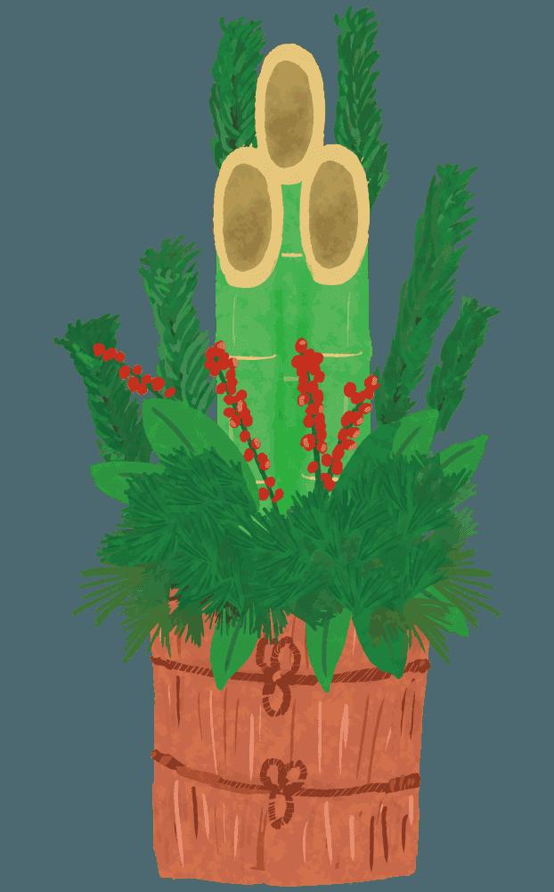 装飾された門松のイラスト