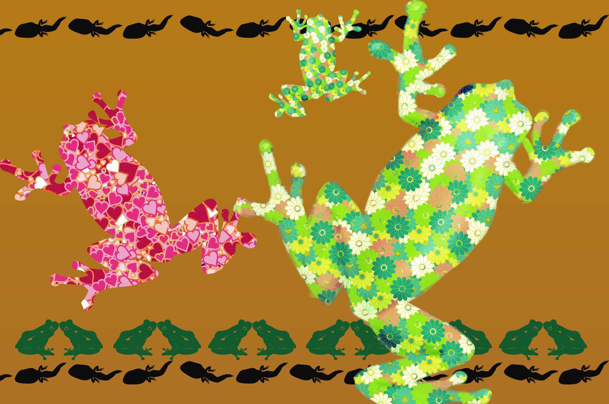 カエルイラスト - シルエットと可愛い蛙のイラスト素材