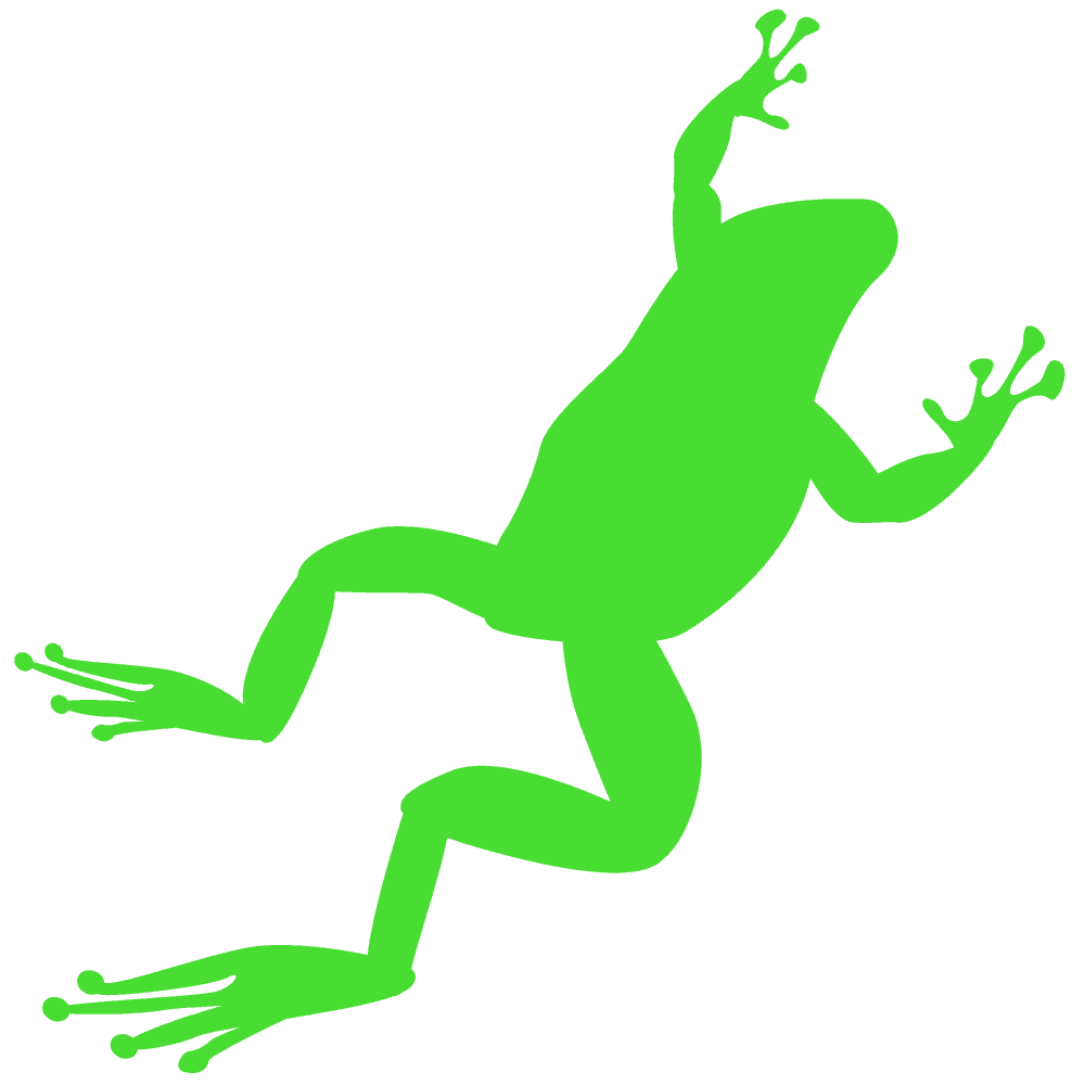 ジャンプしているシルエットのカエルイラスト