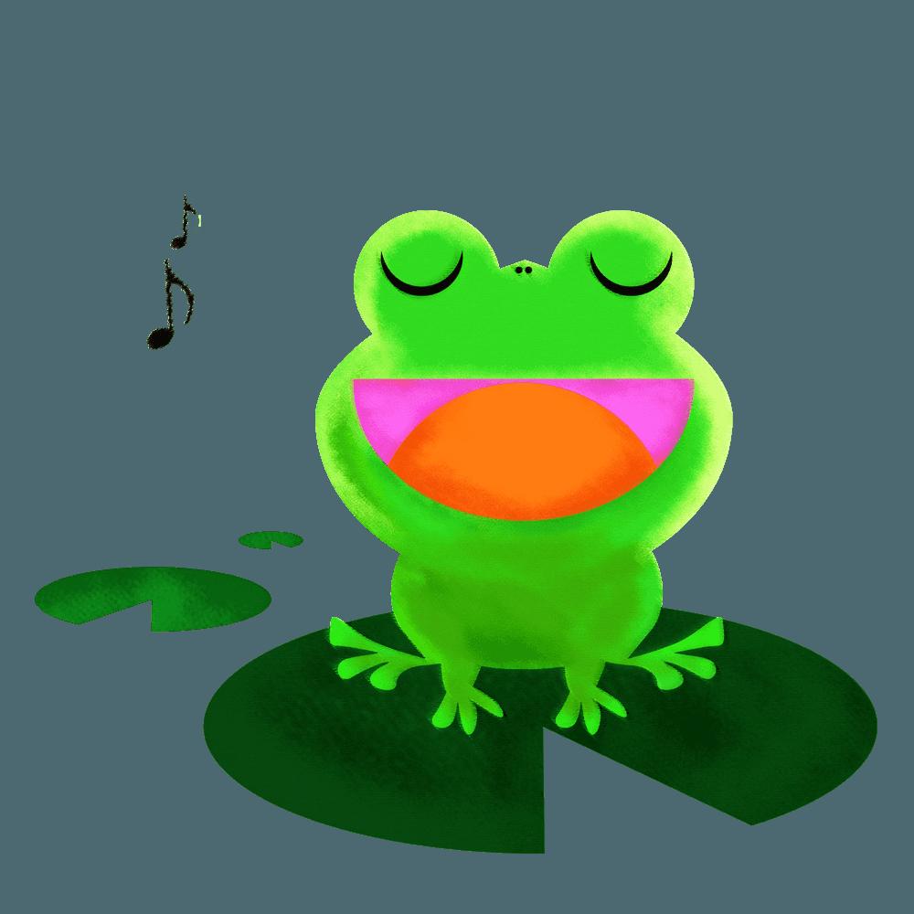 蓮の葉に乗って歌を歌うカエルイラスト