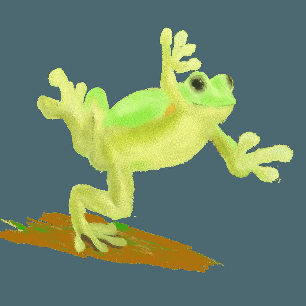 水彩で描いた転びそうなカエルイラスト