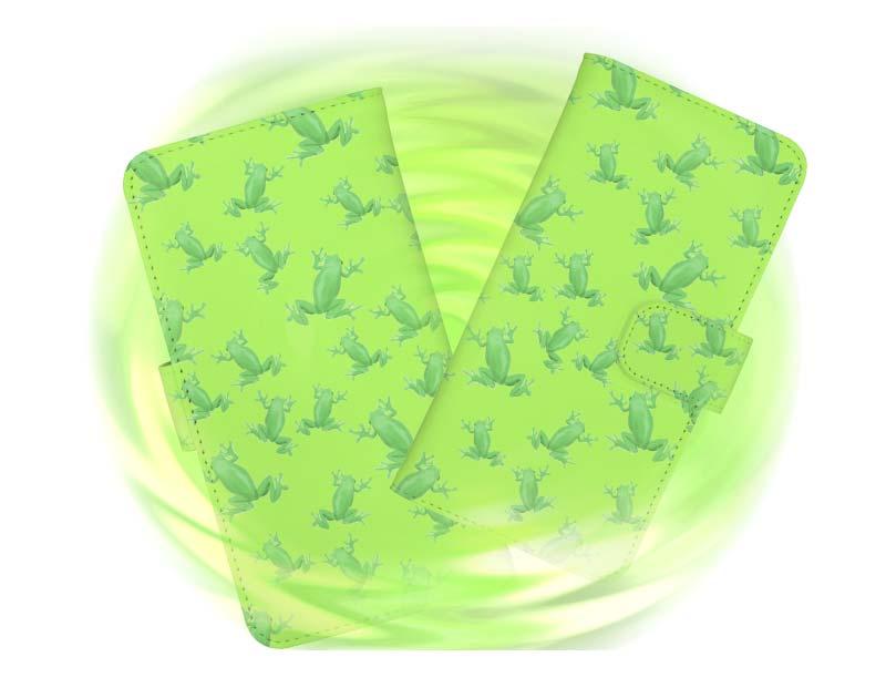 可愛いカエル柄スマホケースの手帳型スマートホンケース