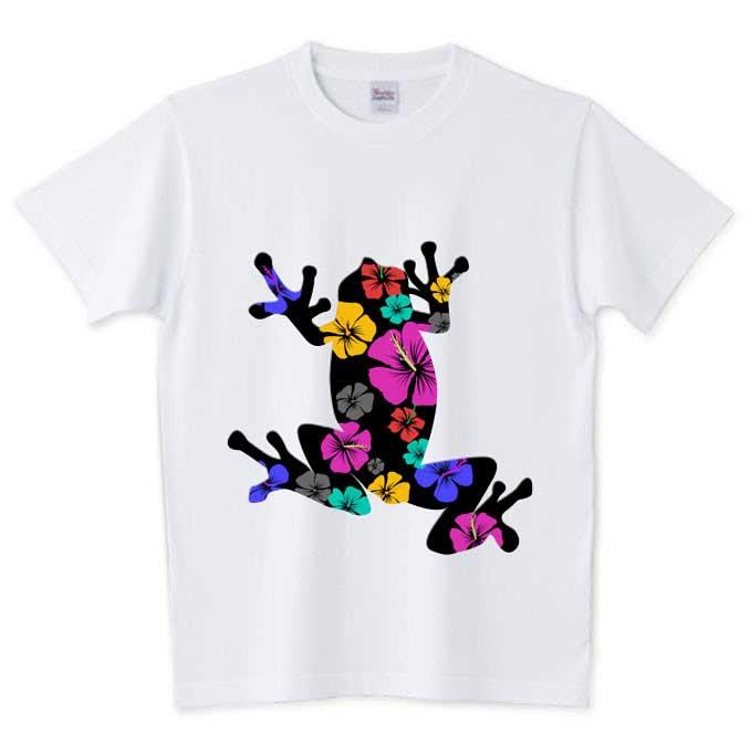 南国ハイビスカス柄のカエルTシャツ