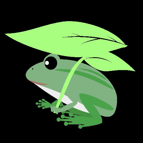 葉っぱをもつカエルのイラスト
