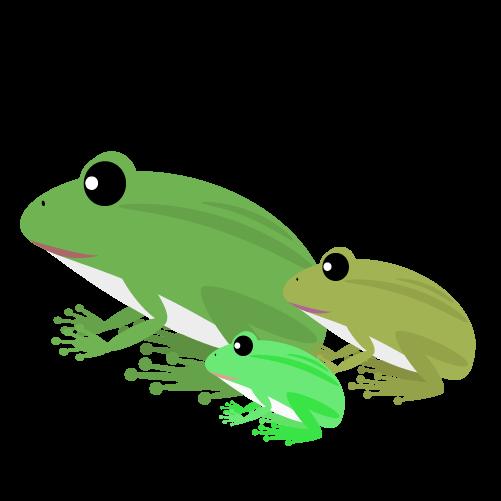 カエルの親子のイラスト