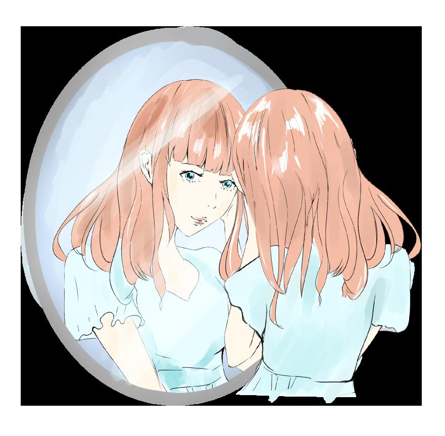 鏡で自分の顔を見る女性のイラスト