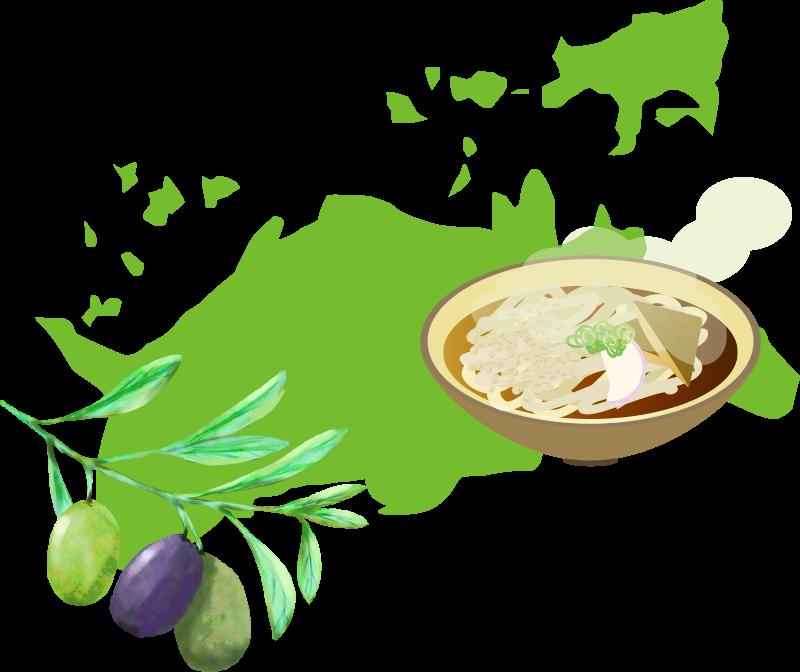 香川県とうどん・オリーブのイラスト