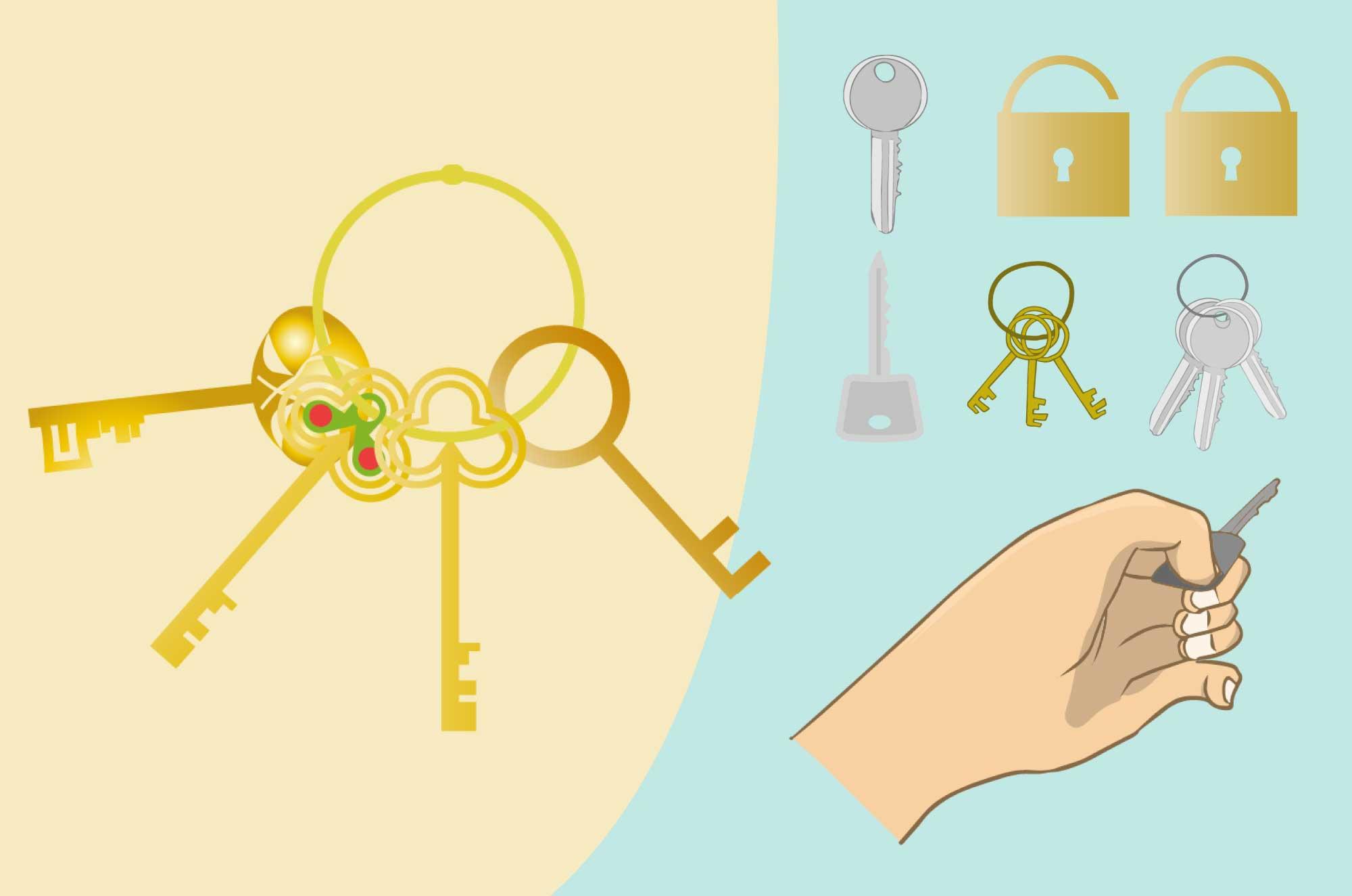 鍵のイラスト - かっこいい・可愛い道具の無料素材