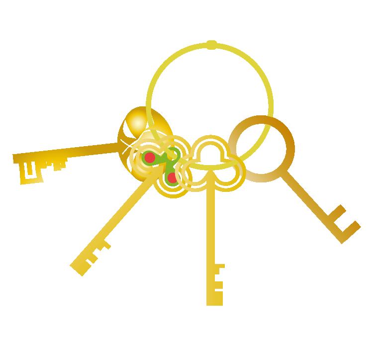 かっこいい鍵の束のイラスト