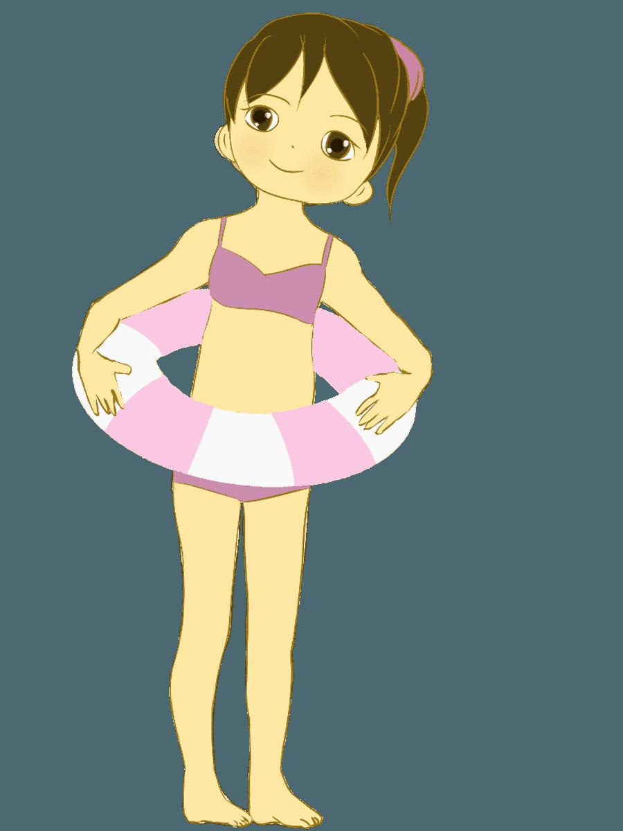 子供(女の子)と浮き輪イラスト