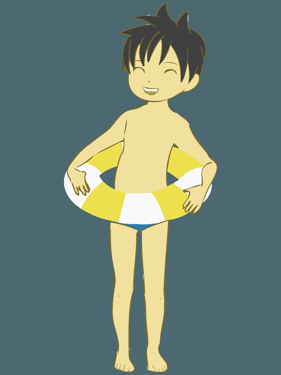 浮き輪をして笑顔の男の子イラスト