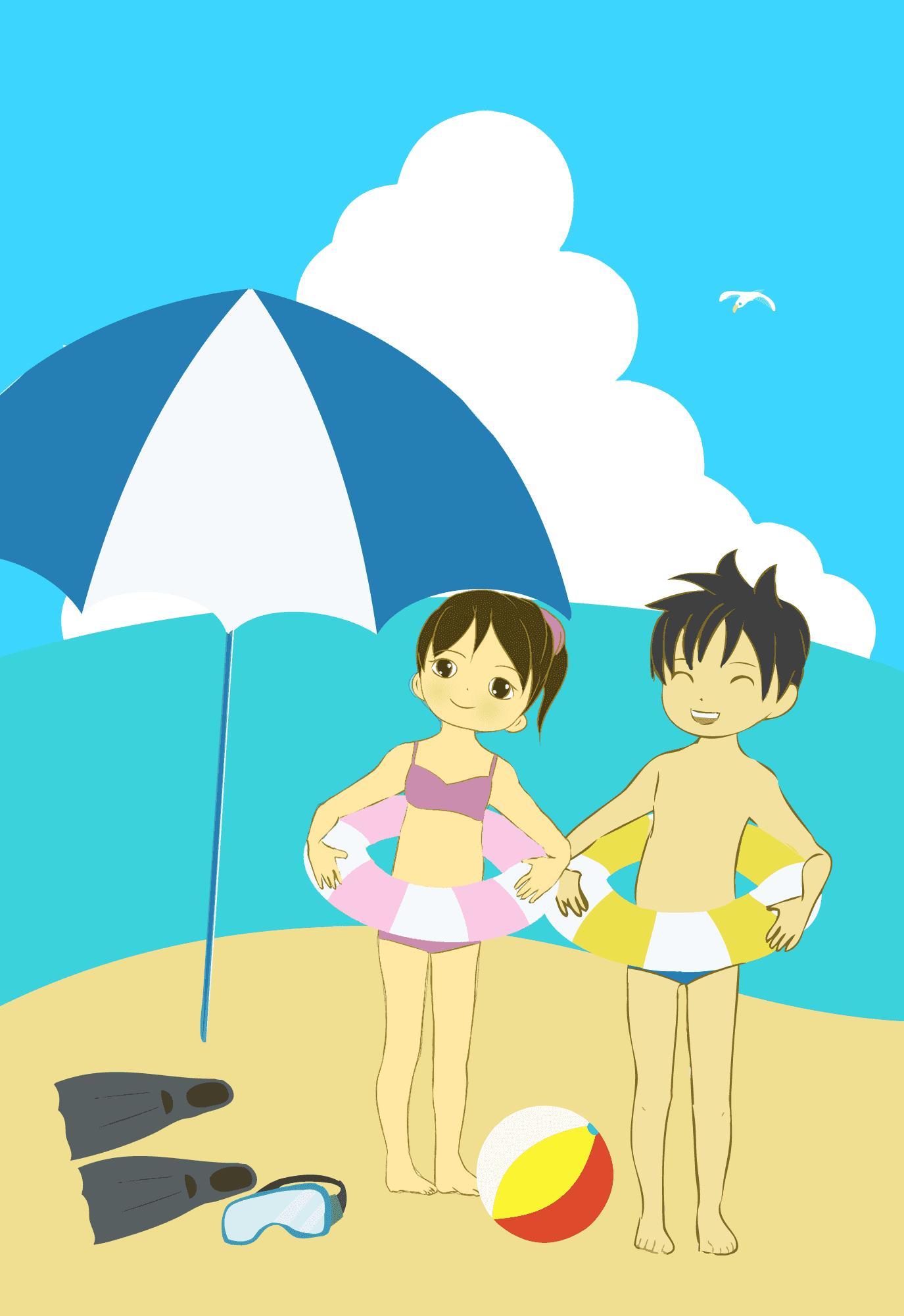 海水浴にきた子どもたちイラスト