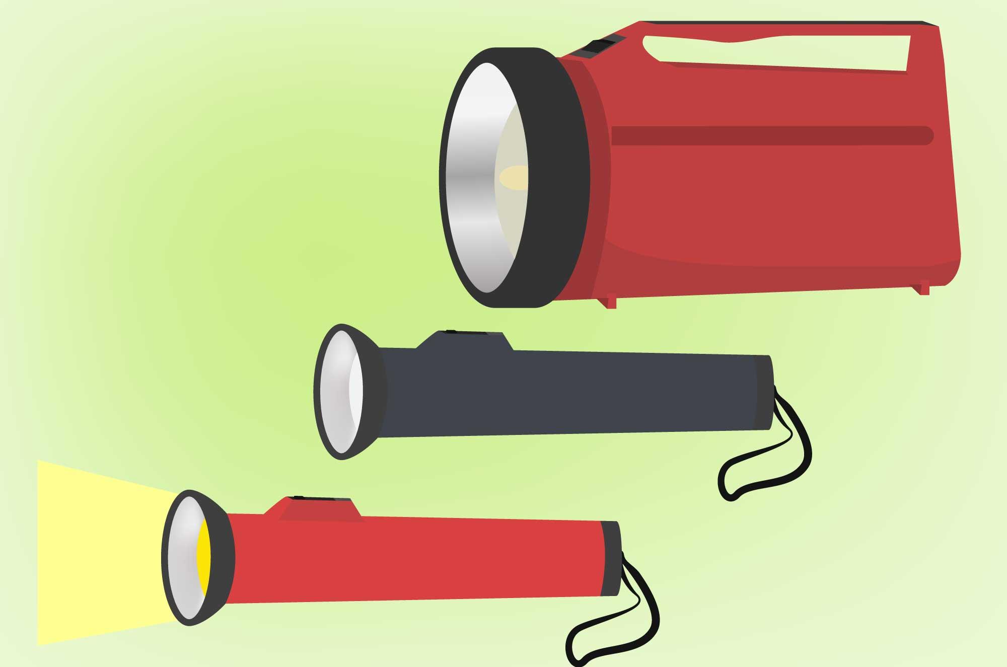 懐中電灯のイラスト - 非常用・防災アイテム素材