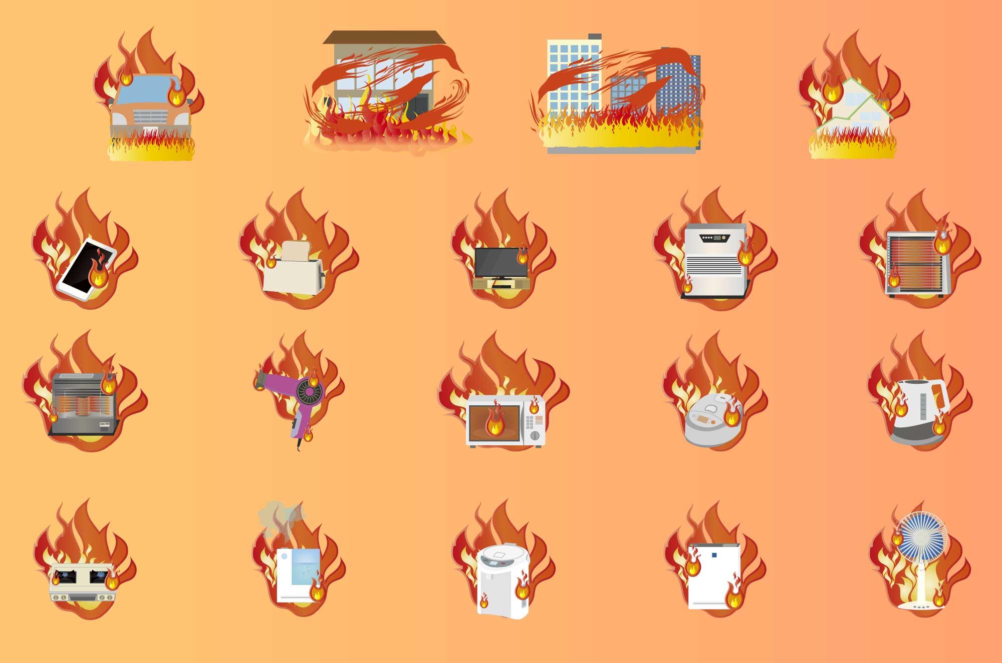 火の用心・火災・火事の注意喚起フリーイラスト素材