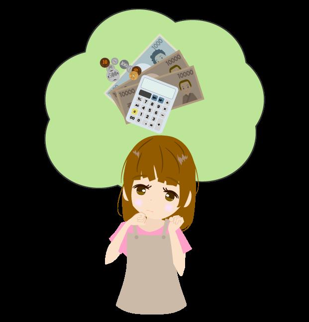 家計を考える主婦のイラスト