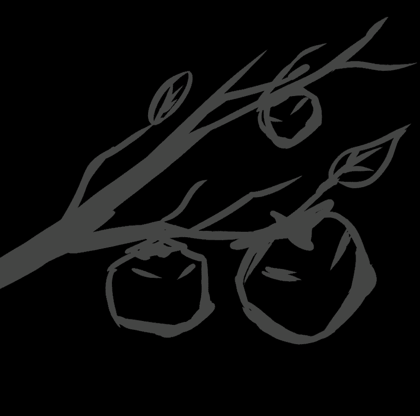 柿版画風イラストを開いて背景を黒くする。