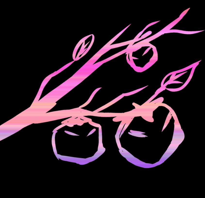 影絵風の枝と柿の実のイラスト
