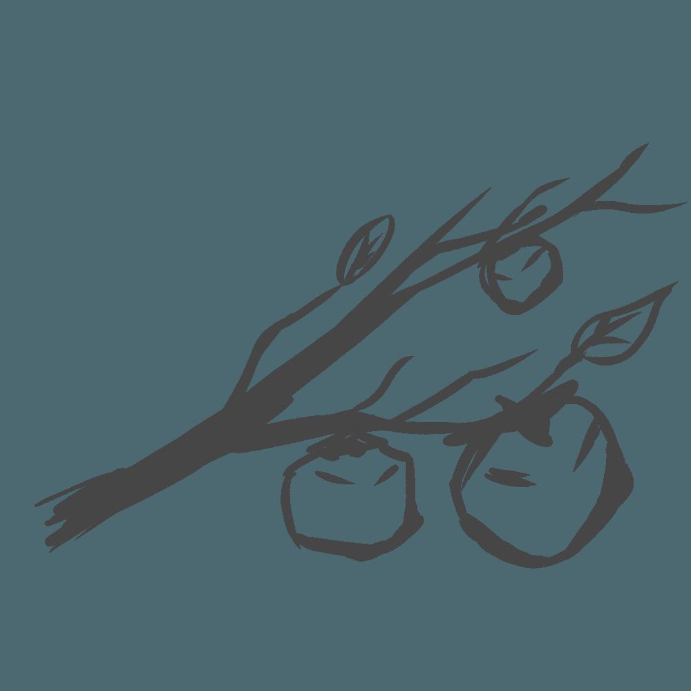 版画風の柿の実と枝のイラスト