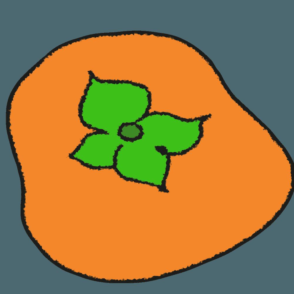 平たい柿イラスト