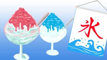 かき氷のイラスト - レトロな機械といちごの甘いシロップ