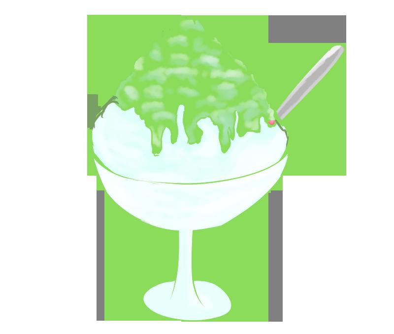 メロン味のかき氷イラスト