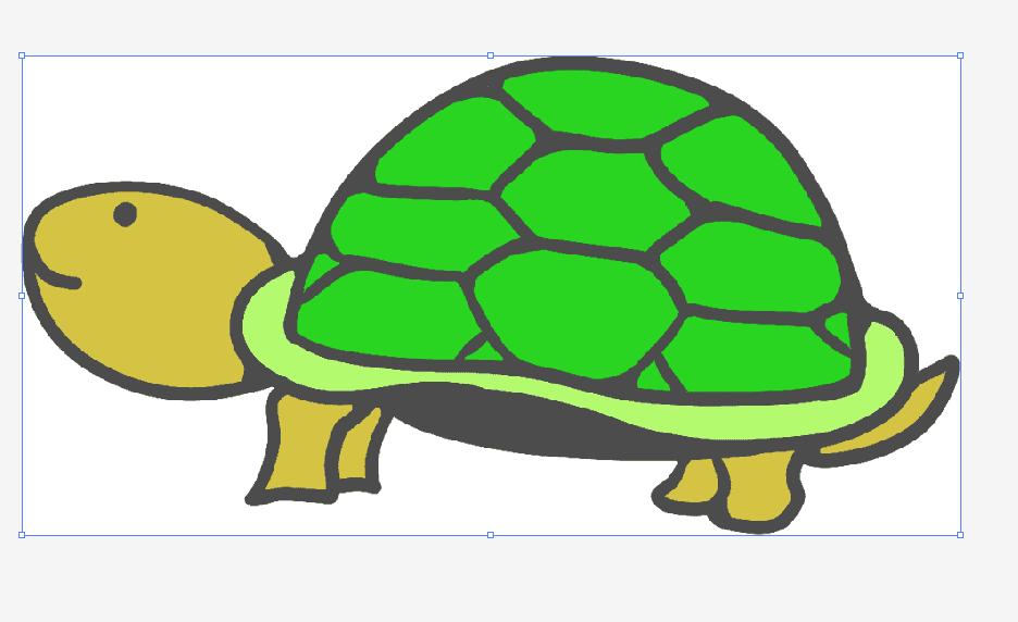 亀イラストをダウンロードしてillustratorで開く