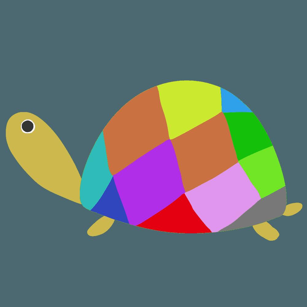 カラフルな甲羅亀のイラスト
