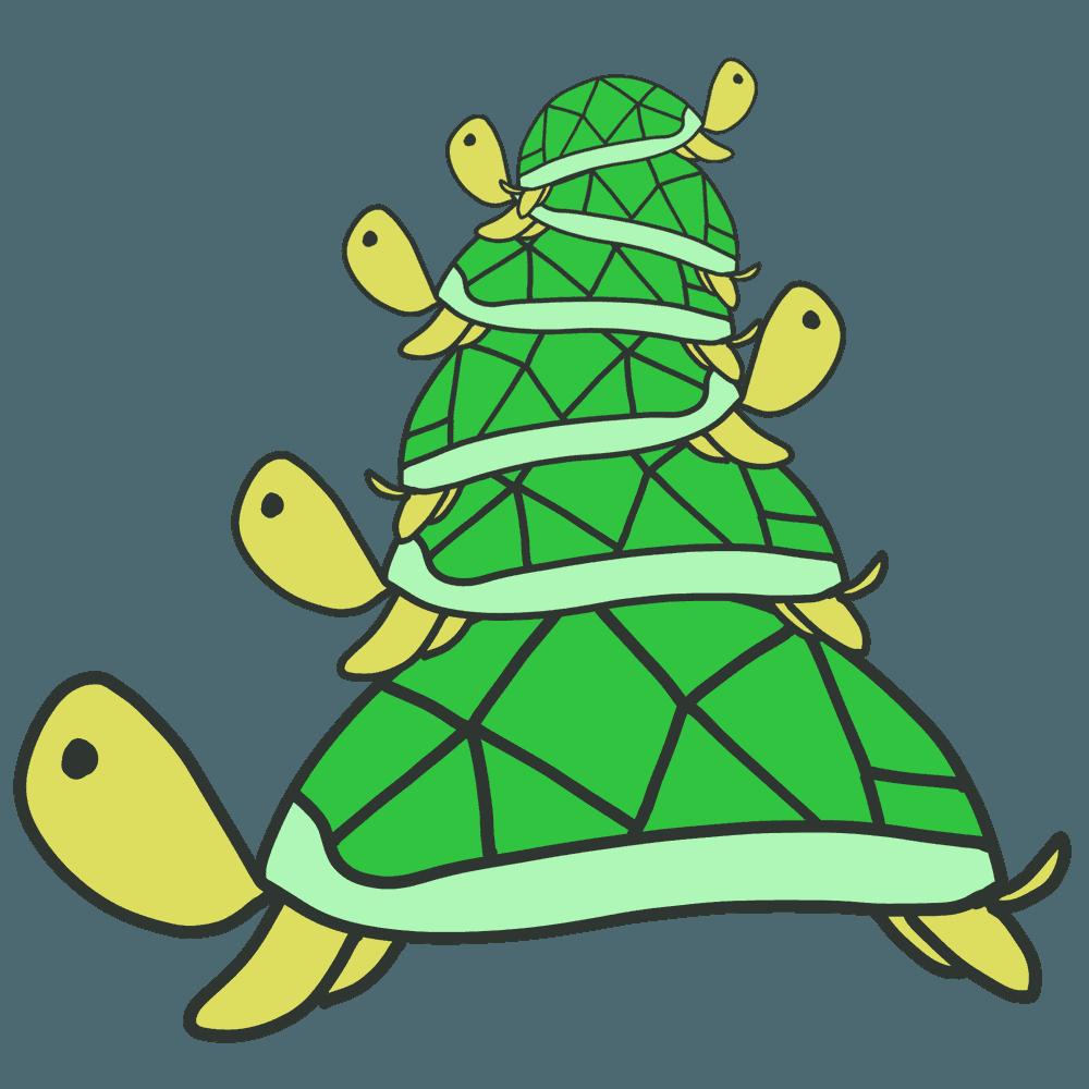 甲羅に重なる亀達イラスト