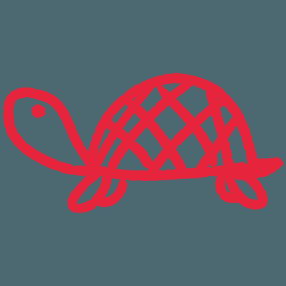 赤いリボンの亀イラスト