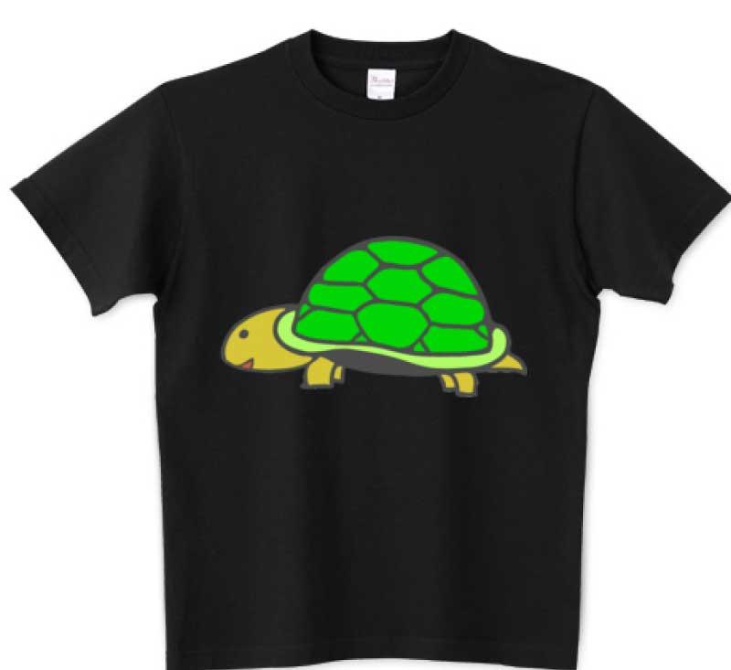 かわいい緑の亀さんTシャツブラック