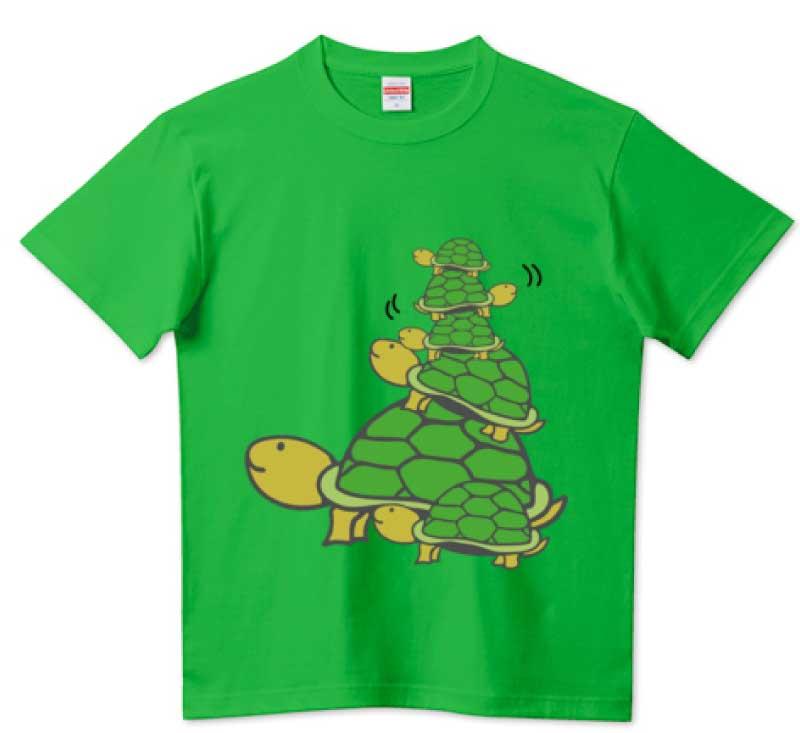 かわいい亀タワーTシャツ